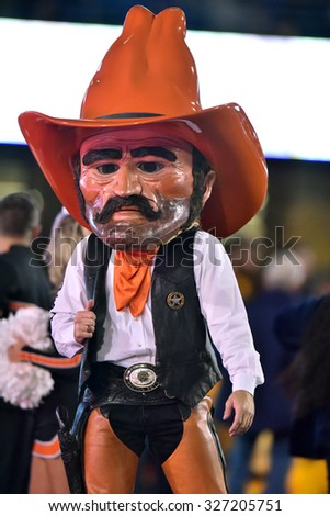 MORGANTOWN, WV - OCTOBER 10:  Oklahoma State Cowboys mascot Pistol Pete shown during the Big 12 football game October 10, 2015 in Morgantown, WV.