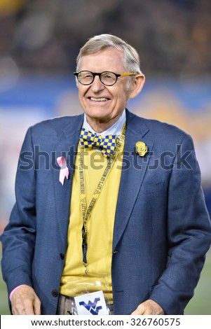 MORGANTOWN, WV - OCTOBER 10: WVU president E. Gordon Gee takes part in homecoming festivities during the Big 12 football game October 10, 2015 in Morgantown, WV.  - stock photo