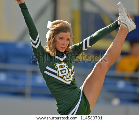 MORGANTOWN, WV - SEPTEMBER 29: A Baylor University cheerleader performs prior to the start of a Big 12 conference football game September 29, 2012 in Morgantown, WV. - stock photo