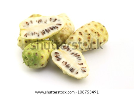 Morinda citrifolia or noni on white background - stock photo