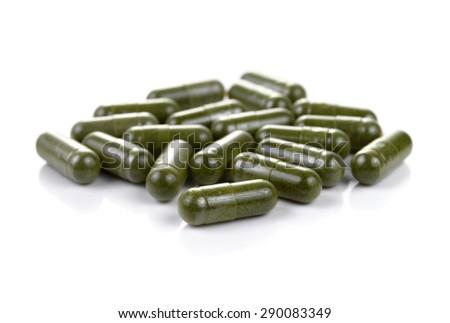 Moringa capsule pills  - stock photo