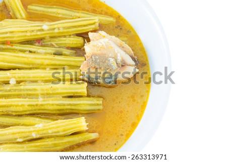 Moringa curry with coconut milk, Thaifood. - stock photo