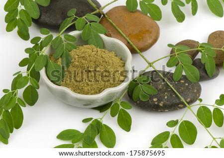 moringa fresh leaves and powder moringa (Moringa oleifera Lam.). - stock photo