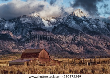 Mormon Barn in the Tetons, Wyoming - stock photo