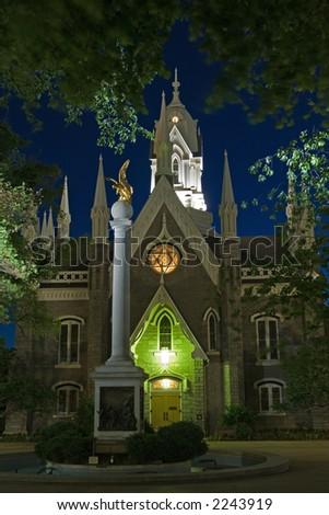 Mormon church and seagull monument in Salt Lake City, Utah, USA - stock photo