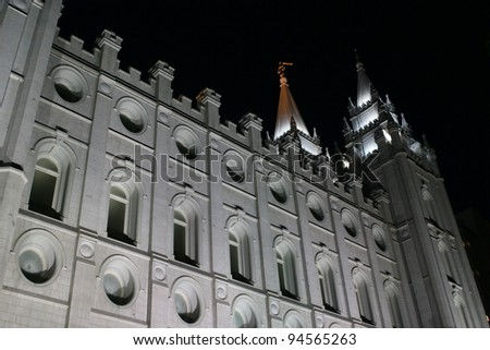 Mormon church in Salt Lake City - stock photo