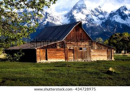 Mormon Row Barn, Grand Tetons - stock photo