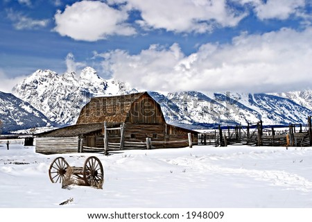 Mormon Row Barn in the Tetons - stock photo