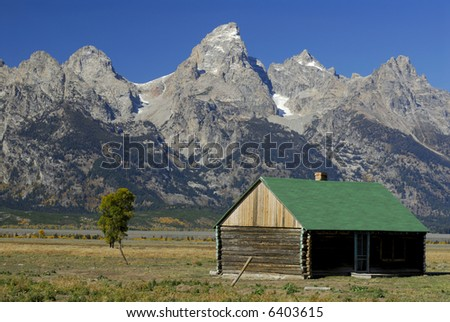 Mormon Row Cabin in the Grand Tetons - stock photo