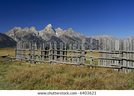 Mormon Row fence in the Grand Tetons - stock photo