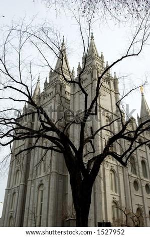 Mormon temple at Temple square, Salt Lake City, Utah - stock photo