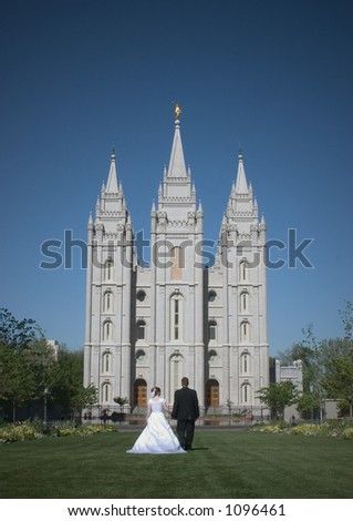 Mormon Temple in Salt Lake City is one of the city's most recognized landmarks and most visited destinations. - stock photo