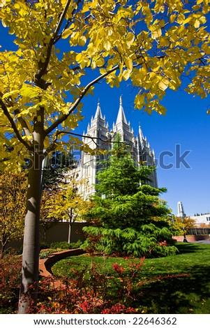 Mormon Temple Squae in Fall - Salt Lake City, Utah - stock photo