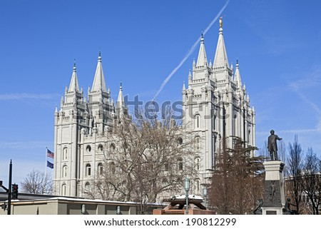 Mormon Temple - The Salt Lake Temple in Utah is the 4th operating temple of The Church of Jesus Christ of Latter-day Saints. - stock photo
