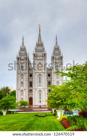 Mormons' Temple in Salt Lake City, UT in the evening - stock photo