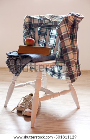 morning and clothes on a chair