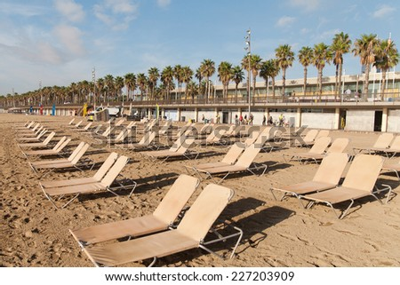 Morning at Mediterranean sea in Barcelona, Spain. - stock photo