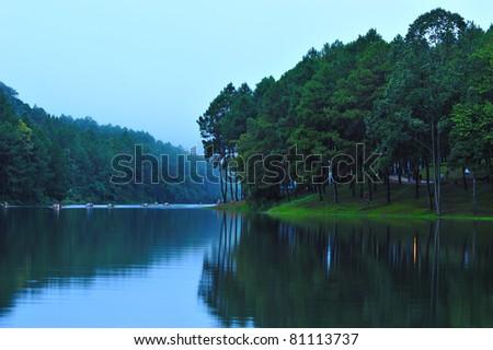Morning at Pangung lake, Maehongson, Thailand - stock photo