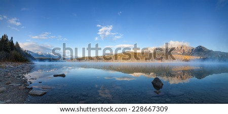Morning at Patricia Lake in the Rockies - stock photo