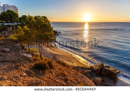 Morning at seaside in Catalonia, Spain