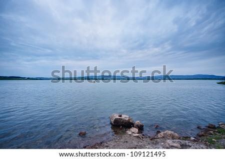 morning at the lake - stock photo