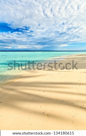 Morning beach for relax,  under the shade of a palm tree - stock photo