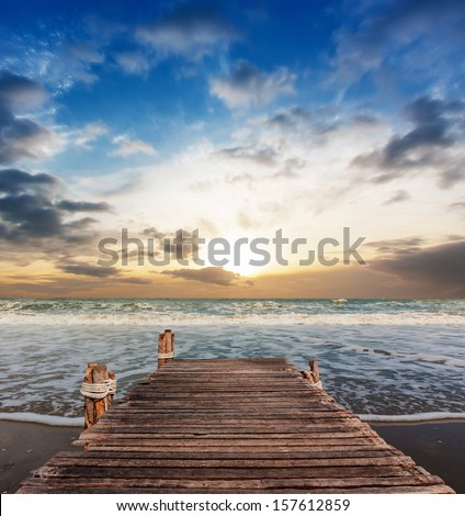 Morning beach with jetty in Thailand Asia - stock photo