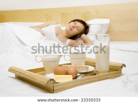 Morning breakfast in the bed