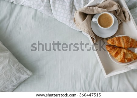 Morning. Breakfast in the bed - stock photo