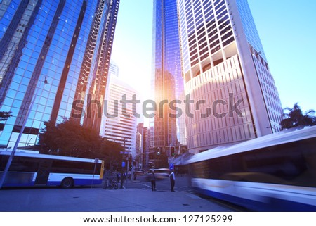 Morning, Brisbane City - stock photo