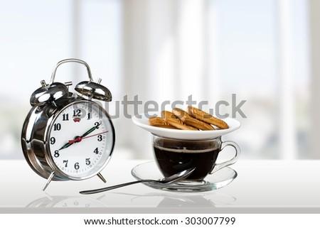 Morning, Clock, Coffee. - stock photo
