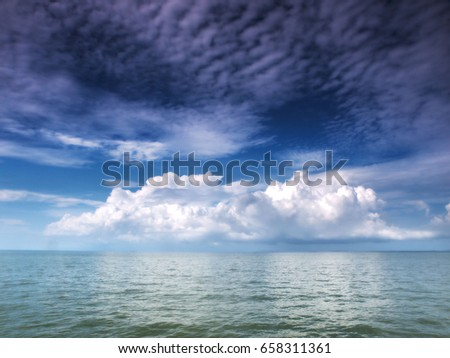 Morning cloud over the ocean in the gulf of Thailand near Koh Chang island in the east of the country.
