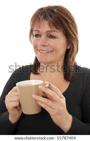 Morning coffee and cigarette - stock photo
