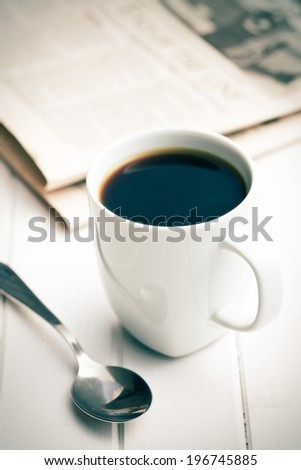 morning coffee and newspapers - stock photo
