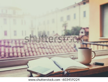 european cup office coffee. Morning Coffee At The Window With A View Of European City. Mug Cup Office