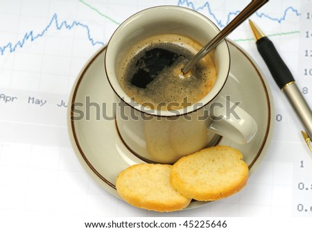 Morning coffee at work - stock photo