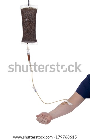 Morning coffee delivered by an IV bag and tube. - stock photo