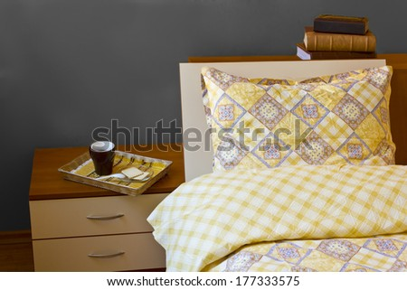 Morning coffee in bed at home - stock photo