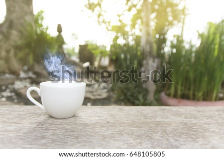 Morning coffee in garden. White coffee cup on wooden.