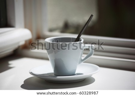 morning coffee on the window sill - stock photo