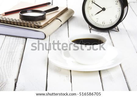 Morning Coffee Service white vintage wooden background