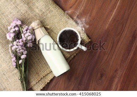 Morning Coffee with fresh milk on wood table - stock photo