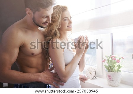 Morning coffee with my big love - stock photo
