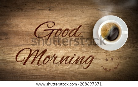 morning cup of coffee  - stock photo