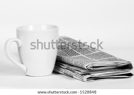morning cup of coffee and press on white