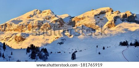 Morning Dolomites winter panorama - Alta Badia, South Tytol - stock photo