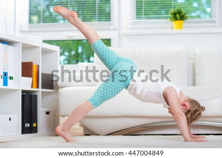 Morning exercises at home - stock photo