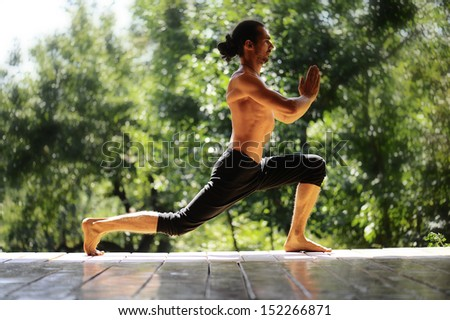 Morning exercises in yoga clubs, adult male.