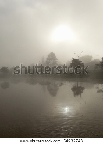 morning fog - stock photo