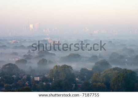 Morning fog blanked City - stock photo